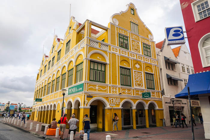 Decorated bright yellow building